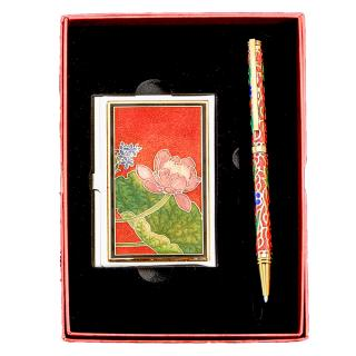 Business Card Holder Set, Business Pen Set, Cloisonne Business Card Case & Pen Set