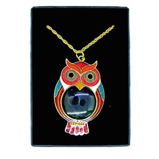 cloisonne owl pattern necklace of magnifier