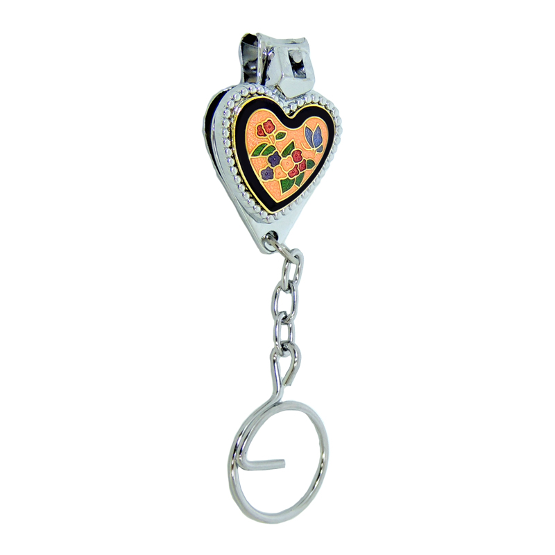 Nail Clipper Key Chain | Cloisonne Heart Shaped Nail Clipper Key Chain